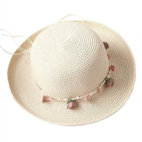 Reeseiy Frauen Crimpen Stroh Hut Sunscreen Chic Casual Beach Cap Outdoor Urlaub Sun Hut Casual Sommer Hut Shell Form Fischer Hut (Color : Beige, Size : 56-58cm)