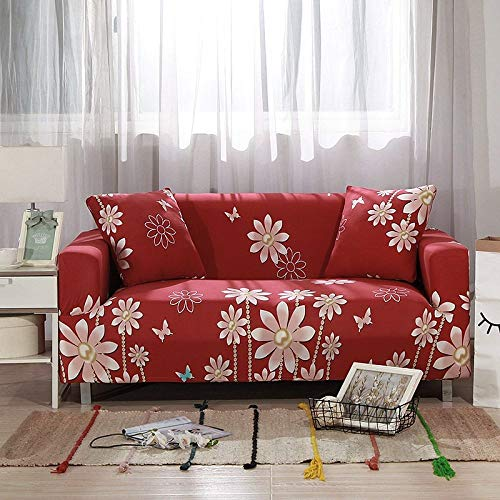 Universal Sofa Slipcover Universal Printing Flower Stretch Red Couch Covers,Washable Furniture Protector For Living Room/Children/Pets,Single Double Triple Combination Sofa Cushion,Pillowcase 45*45