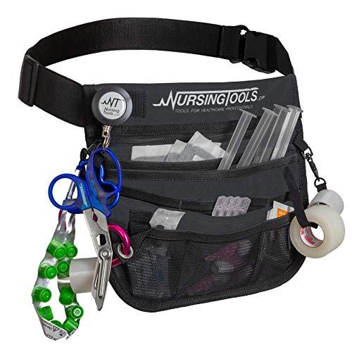 KangaPak Nursing Organizer Belt - New Microfiber Design - 9 Pocket Utility Pouch for Stethoscopes, Scissors and Other Medical Supplies (Seal Grey)