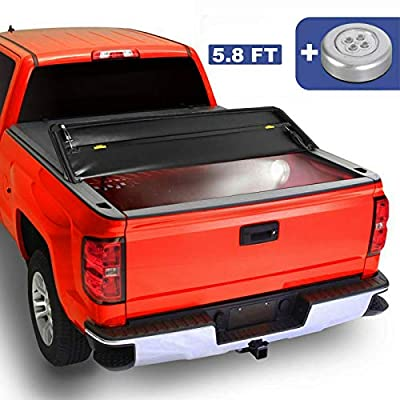 MOSTPLUS Tri-Fold Tonneau Soft Cover Truck Bed Compatible for 07-13 Chevy Silverado 1500 GMC Sierra 1500 Four Fold (5.8 FT) On Top