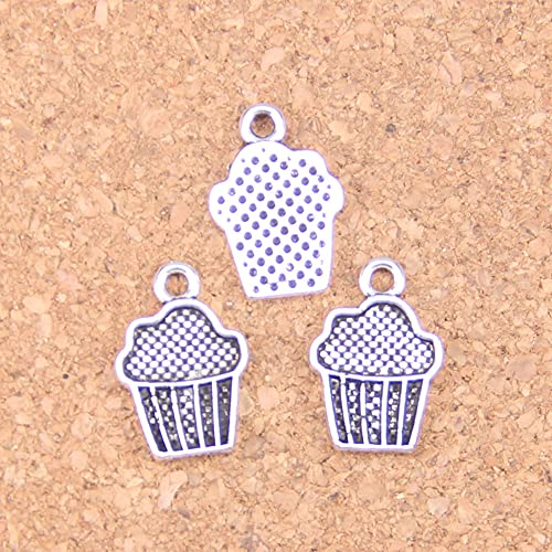 WANM Colgante 30 Uds Encantos De Cupcakes De Helado 15X10Mm Colgantes Antiguos De Época DIY Joyería De Plata Tibetana para Collar De Pulsera