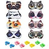 HOKPA Cute Animal Sleep Eye Mask 8 Pack, Soft Cat Dog Funny Blindfolds Sleeping Mask with 8 Pairs of Ear Plugs, Eye Mask Cover for Kids Girls Men Women Plane Travel Nap Night Sleeping