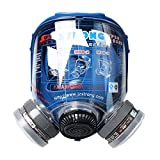 WORKCARE Full Face Cover, Professional Full Face Respirator Organic Steam Face mask, Reusable Multi-Purpose with Dual Fliter Cartridges