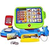 esto24 Kinder Spiel Kasse mit Sound Touch Display  inkl.Spielgeld Kaufmannsladen Einkaufsladen Spielzeug Sound Kaufladen Scanner Waage mit viel Zubehör