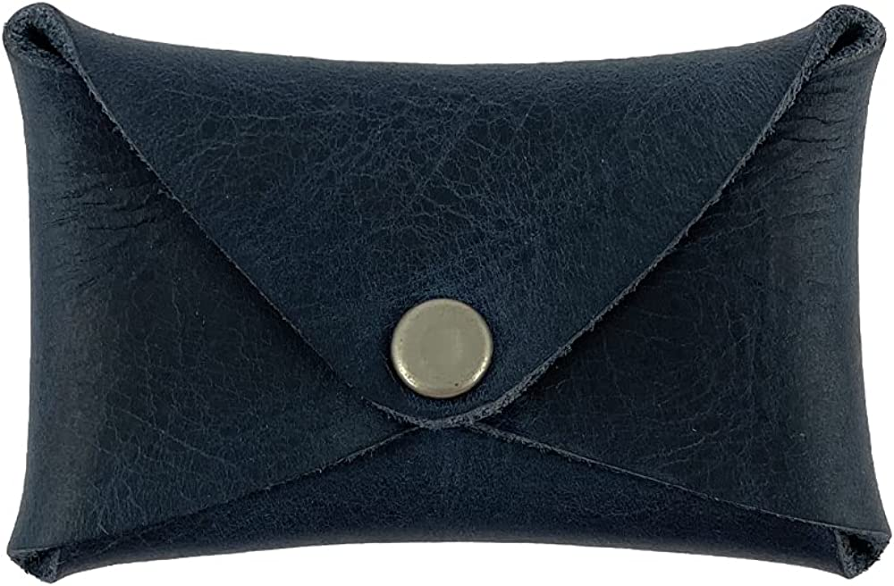Hide & Drink, Rustic Leather Envelope Shaped Coin Case/Secret Bag Miniature World Handmade Includes 101 Year Warranty :: Slate Blue