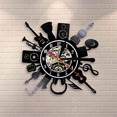 GODYS Guitarra eléctrica Decoración de Pared acústica Reloj de Pared Música Rock...