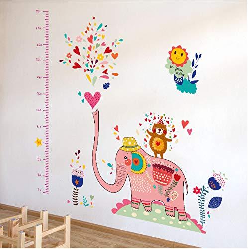 Dibujos animados elefante spray altura pared pegatina divertida niño habitación fondo de pantalla niño altura medida decoración mural aplicación 60 * 90cm