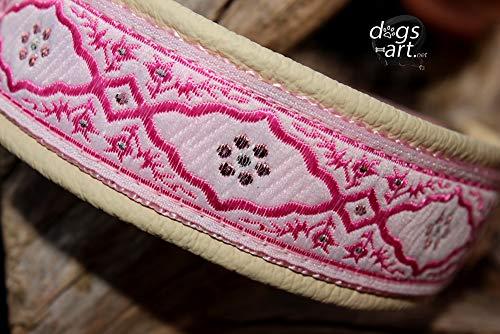 Hundehalsband Leder Pink Pearl Creme Cream Weiß Rosa Rose Hochzeit Zugstopp