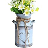 MISIXILE French Style Country Metal Shabby Chic vase, Rustic Galvanized Milk Can with Heart-Shaped for Home Decoration -7.5'(Misty Grey