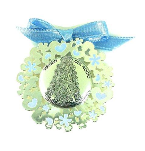 Médaille Berceau V. Rocio bilaminada Argent Couleur Bleu Ciel 52801/01 C