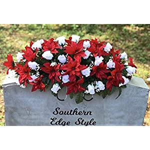 Christmas Headstone Saddle, Cemetery Flowers, Christmas Cemetery Saddle, Headstone Saddle, Poinsettia, White Rose buds