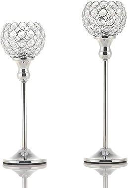 VINCIGANT Silver Crystal Tea Light Candle Holders Set of 2/Sparklers Wedding Candelabra Housewarming Dining Room Coffee Table