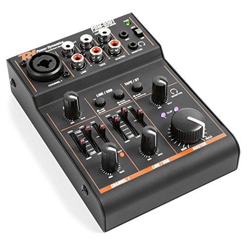 Power Dynamics PDM-D301-3-Kanal-Mixer, USB-Mischpult, 2-Wege-Equalizer, integrierter USB-Soundkarte, Stereo- und Mono-Eingangskanal, Master-Regler, Gain-Regler, Balance-Regler, schwarz