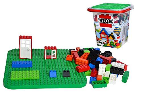 Simba 104114519 - Blox 500 Bausteine im Eimer, für Kinder ab 3 Jahren, Verschiedene Steine, 16 Fenster, 4 Türen, mit Grundplatte, vollkompatibel, farblich gemischt