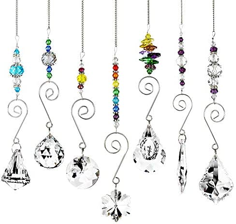 BKpearl 7 Pcs Crystals Sun Catcher Hanging Suncatchers Beads Chain Sphere Chandelier Lamps Light product image