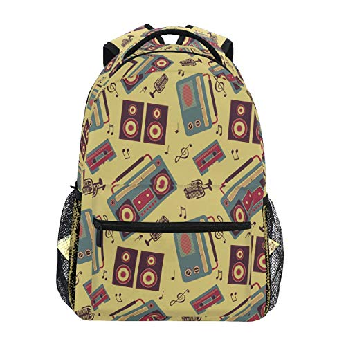 Rugzakken retro muziek gadgets afdrukken laptop student gedrukte rugzak Boy Travel speciale college tas Casual Fashion Lightweight school