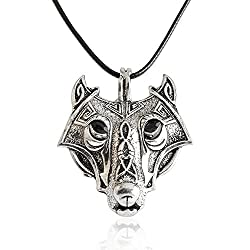 Meiligo Retro Norse Vikings Wolf Amulet Charm Necklace Valknut Sign Irish Jewelry Necklace Odin's Wolves Norse Rune Pendant