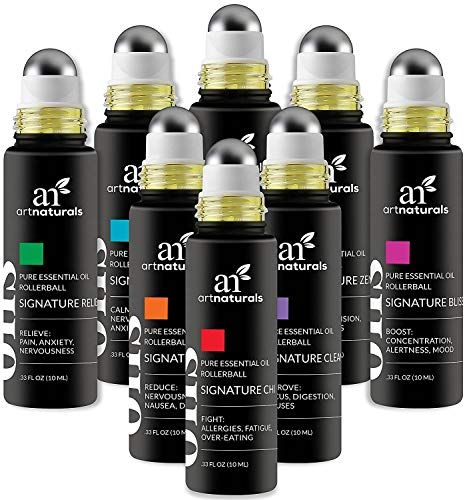 ArtNaturals Top 8 Aromatherapy Essential Oil Blend Roll On 10ml Set - Blends Assists with Sleep, Headache, Calming, Moods & More. Blended with Jojoba Oil for Skin Nutrition