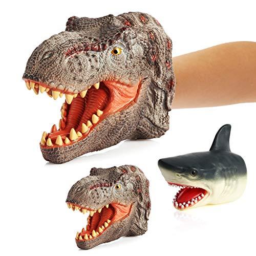 Funight Juego de 2 marionetas de mano de animal, tiranosaurio Rex dinosaurios tiburón, juguete realista de interacción de padres e hijos, regalo de guantes para niños