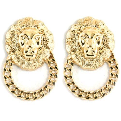 Large Celebrity Designer Inspired Gold Lion Head Door Knocker Stud Earrings