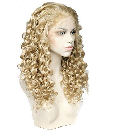 Cbwigs Perruque de rechange en fibre synthétique avec longs bouclés blonds et mèches brunes 3 tons tissées à la main pour femme 45,7 cm 6131627HR