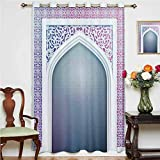 Cortina opaca marroquí con diseño de geometría sagrada con ojales impresos, panel individual de 160 x 114 cm, para sala de estar, color gris malva