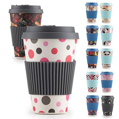 ROSMARINO Bambus-Reisebecher für Heißgetränke, 400 ml - Mehrweg-Kaffeebecher mit Silikon-Deckel und -Hülle - TÜV-geprüft (Dots)