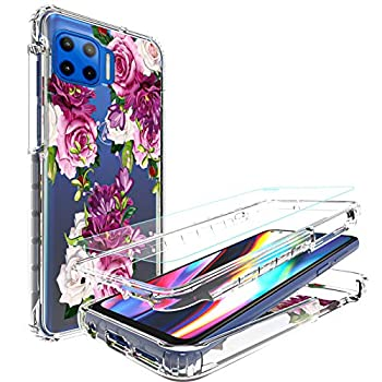 [3 Items] AMPURSQ Moto One 5g Case/Moto G 5g Plus Case with Screen Protector Moto One 5g Case for Women Girl Floral Shockproof Protective Case for Moto G 5g Plus 6.7 inch
