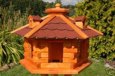 Deko-Shop-Hannusch Nr16 Nichoir à oiseau style maison en rondins de bois avec lucarnes Toit rouge