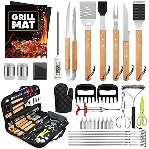 HaSteeL Grill Accessories, 34Pcs Complete Stainless Steel BBQ Tools Set with Wooden Handle, Long Heavy Duty 16in Barbecue Utensils & Meat Claws for Outdoor Grilling, Easy to Clean & Gift for Man Women
