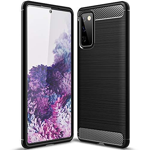 TANYO Silikon Faser Hülle für Samsung Galaxy S20 FE (Fan Edition), Schutzhülle TPU Faser Zeichnen Handyhülle mit Stoßfest Bumper Armor, Hülle Cover - Schwarz