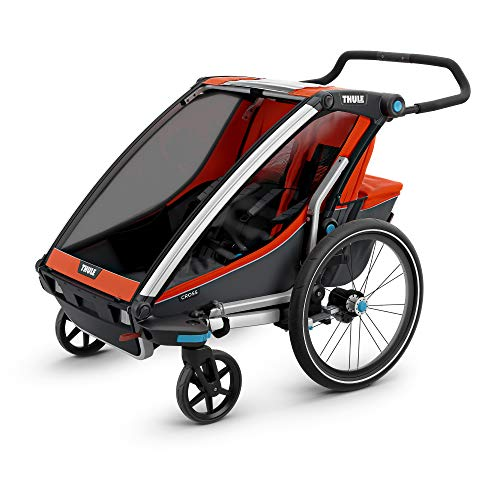Thule Baby Chariot Cross Multisport Anhänger, Roarange/Dark Shadow, 2 Kinder