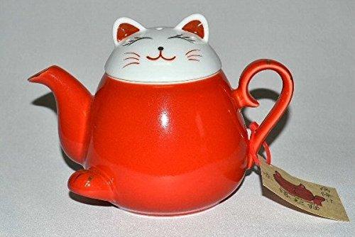 Théière en porcelaine japonaise Hasamiyaki avec passoire Motif chat Maneki Neko Rouge 340 ml