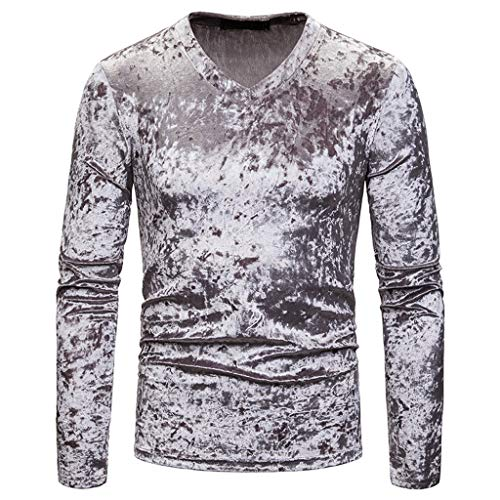 Xmiral Pullover Tops Herren Lange Ärmel V-Ausschnitt Weich Slim Fit Herbst Sweatshirt Patchwork T-Shirt Hemden Oberbekleidung Polohemd(b Grau,M)