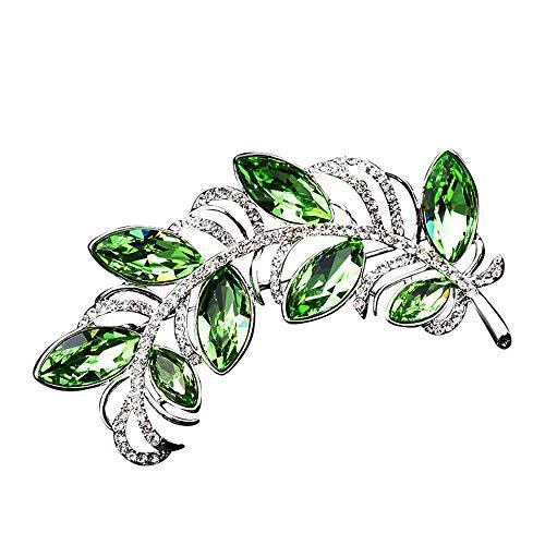CLY brooch Broche para Mujer Temperamento Hojas Verdes Rama De Olivo Broche Cardigan Suéter Accesorios