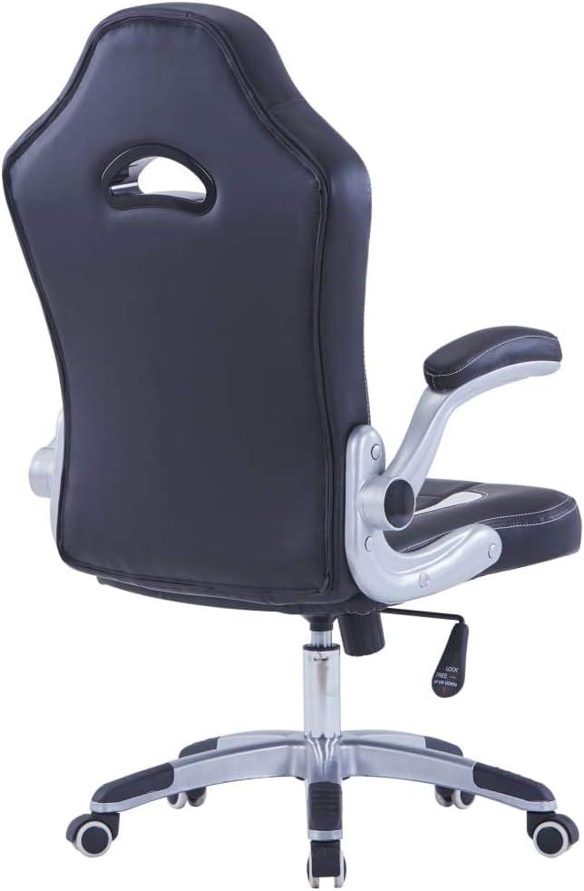vidaXL Chaise de Jeu Fauteuil de Bureau Chaise de Bureau Siège de Bureau Fauteuil d'Ordinateur Siège d'Ordinateur avec 5 roulettes Bleu Similicuir Noir/Blanc