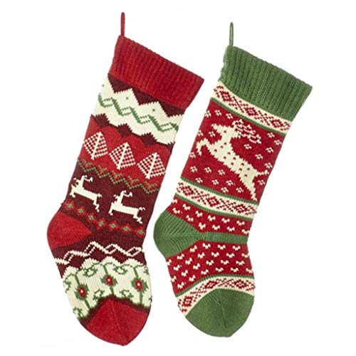 Kurt Adler 20-inch Knit Reindeer Stockings 2 Assorted