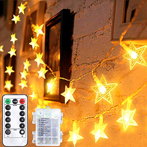 LED Fairy Lights Battery Powered Star Fairy Lights 15 Metres 100 LEDs Indoor and Outdoor String Lights Ideal for Christmas Halloween Wedding Room Decoration Party Garden Warm White