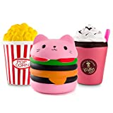 WATINC Kawaii Jumbo 3pcs Hamburger&Popcorn Set Squishy Sweet Scented Vent Charms Kid Toy Hand Toy, Stress Relief Toy , Decorative Props Doll Gift Fun Large (Pink ham&pop Corn)