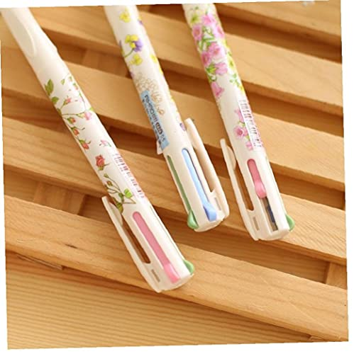 Ruluti 1pc Estudiante 0.5mm Plástico De Kawaii Flor Bolígrafo 4 Colores Bolígrafo para Niños Coreana De Los Efectos