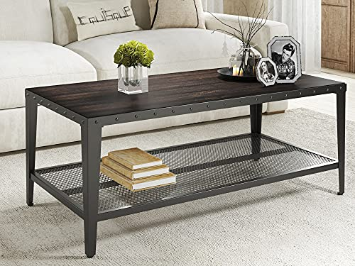 Allewie Industrial Coffee Table, Living Room Table with Dense Mesh Shelf and 2-Tier Large Storage Space, Wood Look Accent Furniture with Rivet Design, Easy Assembly, Rustic Dark Brown