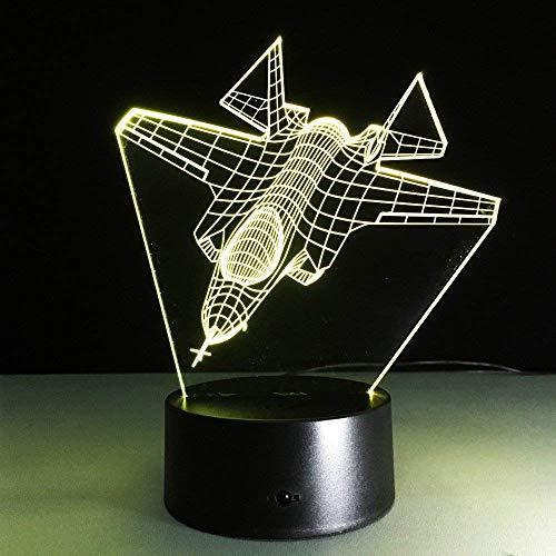 Aviones de combate 3D luz nocturna LED lámpara de mesa de aviones USB 7 cambio de color sensor de interruptor táctil luz para decoración del hogar