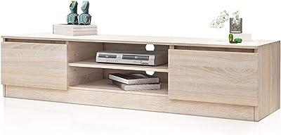 TV Cabinet Stand Entertainment Unit 2 Doors & Open Shelf Cabinet Storage Living Room Furniture Oak 160cm