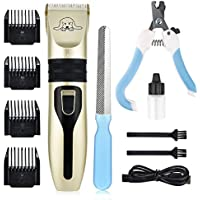 MS.DEAR 7-Tool Professional Dog Cat Pet Rechargeable Cordless Grooming Clipper Set with 4 Detachable Combs