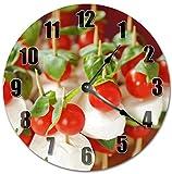 Tomates Cherry Silencioso Sin tictac Redondo Operado por batería Reloj de Pared Colgante Hecho a Mano para la decoración de la cabaña de la Oficina del Dormitorio
