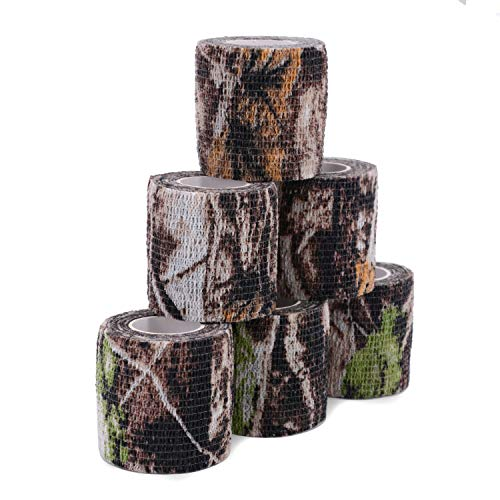 Uning Self-Adhesive Camouflage Tape Wrap for Gun, 6 Roll Protective Camo Form, Non-Woven Stealth Camo Tape Stretch Bandage for Outdoor Camping Hunting Rifle Shotgun 5CM x 4.5M (Realtree Camo)