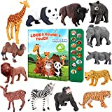 Tudoccy Safari Animals Figures Toys - 13 Realistic Wild Plastic Animal Figurines & Kids Sound Book - Educational Learning Toys Gift for 3 Years Old & Up Boys Girls Toddlers