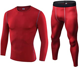 Cherryice Men's Fitness Wear Tights Sportswear High Stretch Long Sleeve Sportswear Set Running Outdoor (Color : Red, Size : L)