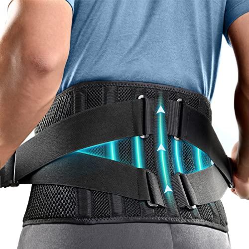 FREETOO 2021 Neu Rückenbandage Mit 7 Stützstreben,360° Verstellbarer Rückengurt Rückenschmerzen,Anti-Rutsch Rückenstütze zur Linderung von Kreuzschmerzen,Ischias und Skoliose (XXL,waist:53\'\'-56\'\')