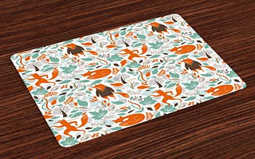 Juego de 4 salvamanteles de zorro, divertidos, para dormir, diseño de hojas de otoño, resistente al calor, lavable, para decoración de mesa de comedor, cocina, color turquesa, naranja, marrón